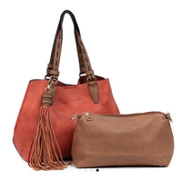 Large Tassel 2 in 1 Satchel - Vegan Leather