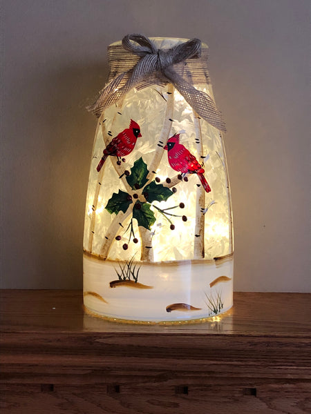 Frosted Glass Luminary w/ Cardinals