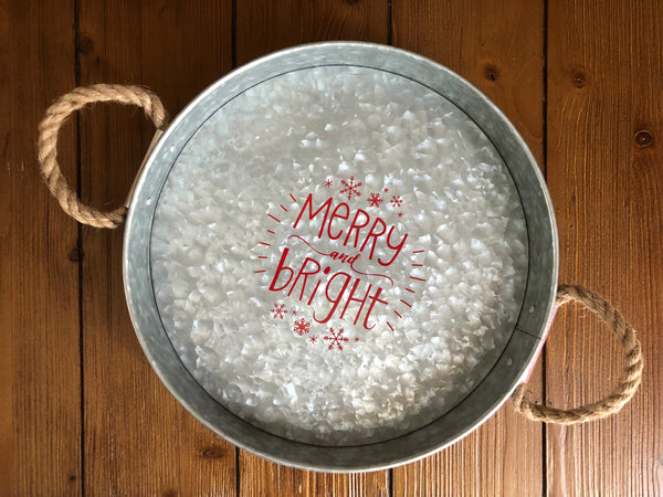 Merry & Bright Galvanized Tray
