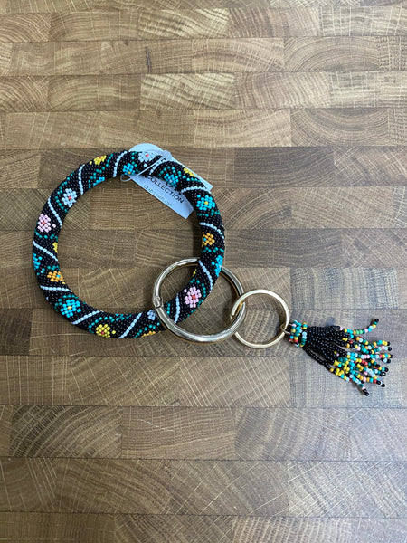 Seed Bead Tassel Key Ring Bangle - Floral Stripe