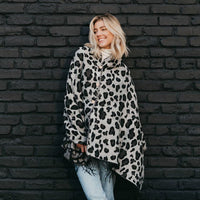 Grey Leopard Button Scarf