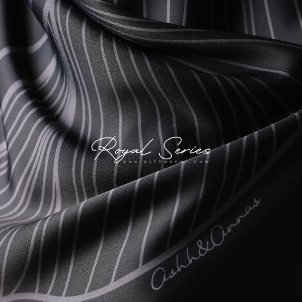 Royal Series in Jade Black Matte Mixed Satin Silk (Square)
