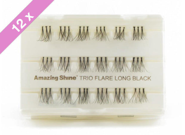 False Eyelashes #Trio Flare Long Black (12 Pack)