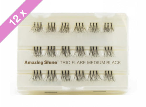 Amazing Shine Eyelash #Trio Flare Medium Black (12 Pack)