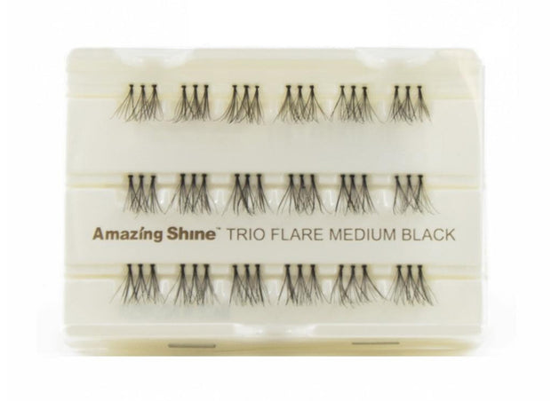 False Eyelashes #Trio Flare Medium Black (1 Pack)