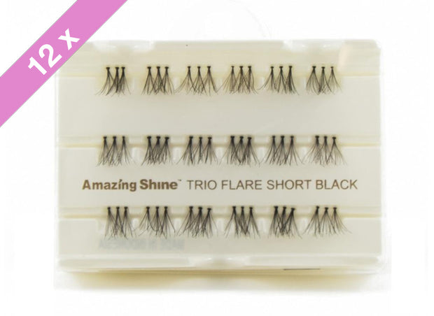 False Eyelashes Trio #Flare Short Black (12 Pack)