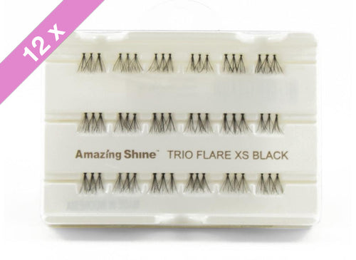 Amazing Shine Eyelash #Trio Flare XS Black (12 Pack)