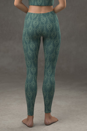 Deco Fan Leggings: Dark Teal Blue