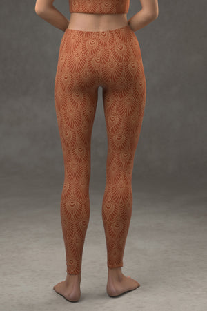 Deco Fan Leggings: Cinnamon