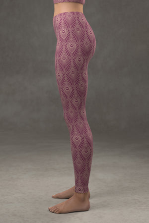 Deco Fan Leggings: Plum