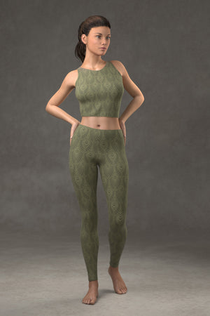 Deco Fan Leggings: Reseda Green