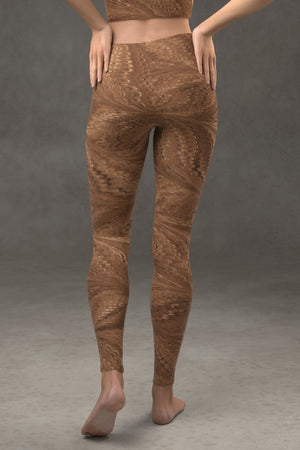 Marbled Butterfly Leggings: Sepia