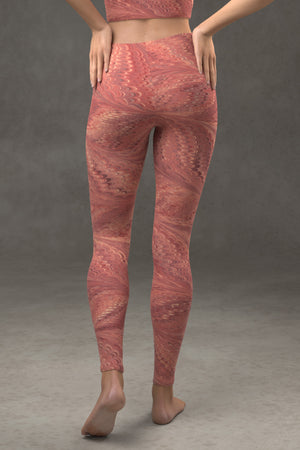 Marbled Butterfly Leggings: Vermilion