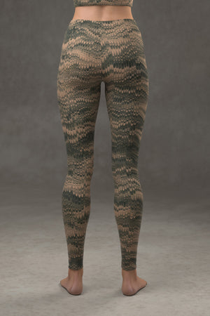 Marbled Combed Leggings: Green & Tan