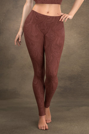 Marbled Peacock Leggings: Burgundy