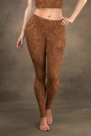 Marbled Peacock Leggings: Sepia