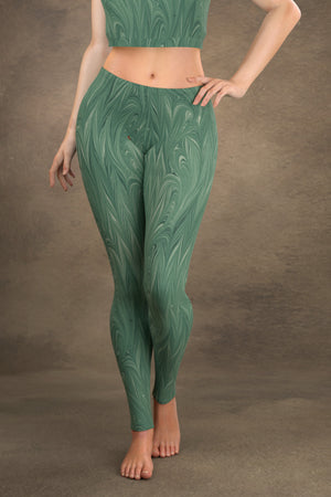 Marbled Twill Leggings: Teal