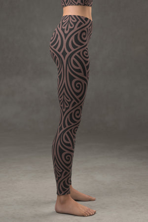 Nouveau Bands Leggings: Black & Tan