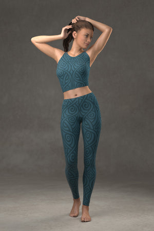 Nouveau Bands Leggings: Blue