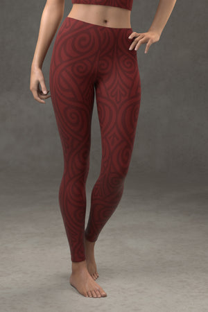 Nouveau Bands Leggings: Crimson