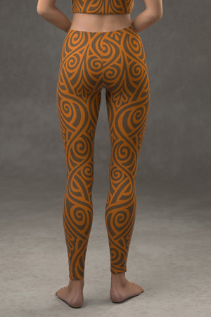 Nouveau Bands Leggings: Orange & Walnut