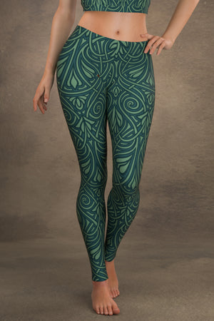 Nouveau Vines Leggings: Teal