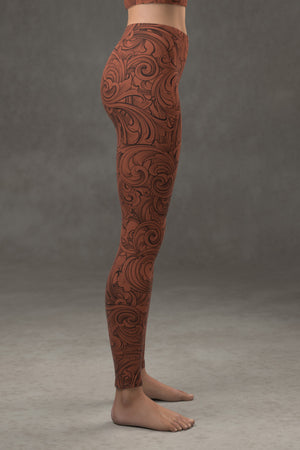Scrollwork Leggings: Cinnamon