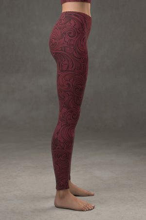Scrollwork Leggings: Crimson