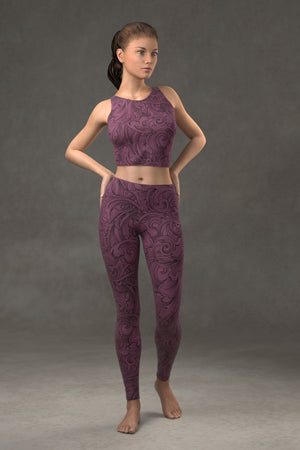 Scrollwork Leggings: Plum