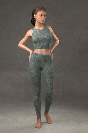 Scrollwork Leggings: Sage