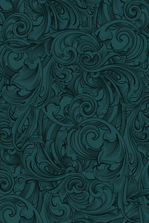 Scrollwork Leggings: Dark Teal Blue