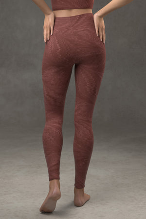 Marbled Butterfly Yoga leggings: Burgundy