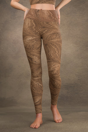 Marbled Butterfly Yoga Leggings: Sepia