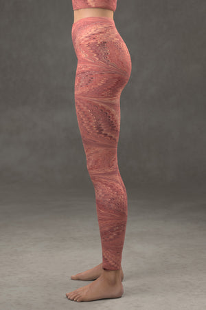 Marbled Butterfly Yoga Leggings: Vermilion