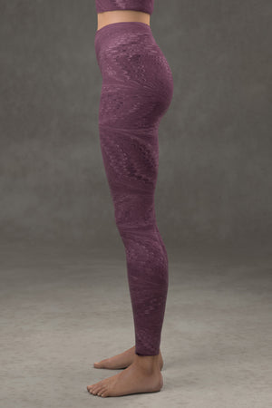 Marbled Butterfly Yoga Leggings: Byzantium Purple