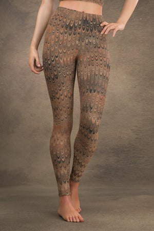 Marbled Combed Yoga Leggings: Earth