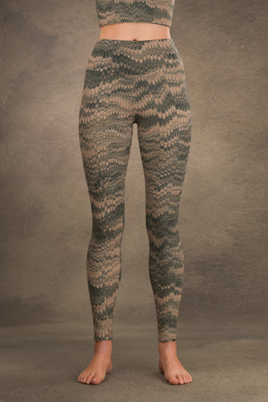 Marbled Combed Yoga Leggings: Green & Tan