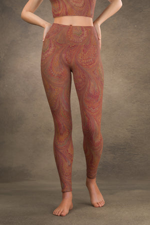Marbled Peacock Yoga Leggings: Carmine
