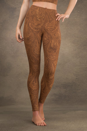 Marbled Peacock Yoga Leggings: Sepia