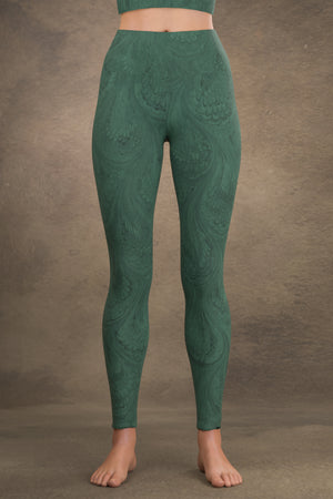 Marbled Peacock Yoga Leggings: Teal