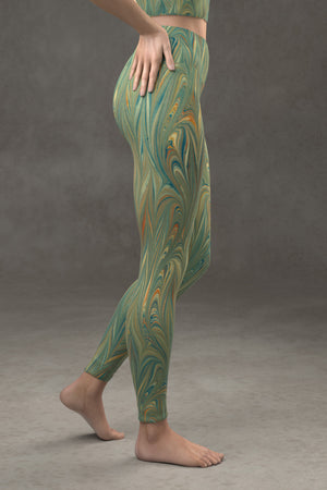 Marbled Twill Yoga Leggings: Green Fireworks