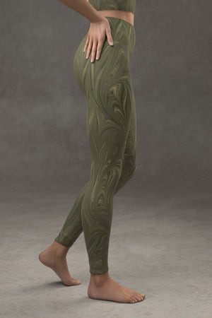 Marbled Twill Yoga Leggings: Reseda Green