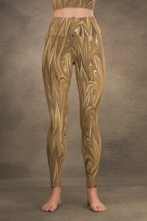 Marbled Twill Yoga Leggings: Sepia