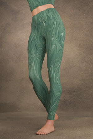 Marbled Twill Yoga Leggings: Teal