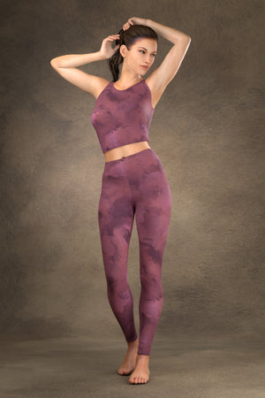Painted Yoga Leggings: Plum