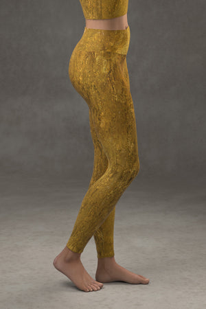 Golden Riverbed Yoga Leggings
