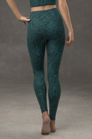 Scrollwork Yoga Leggings: Dark Teal Blue