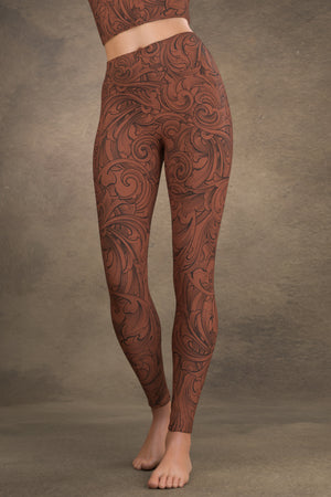 Scrollwork Yoga Leggings: Cinnamon