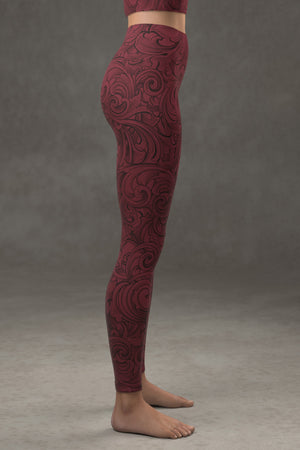 Scrollwork Yoga Leggings: Crimson