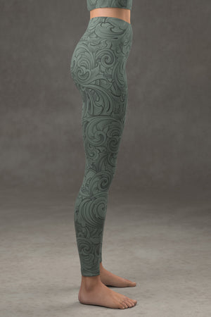 Scrollwork Yoga Leggings: Sage